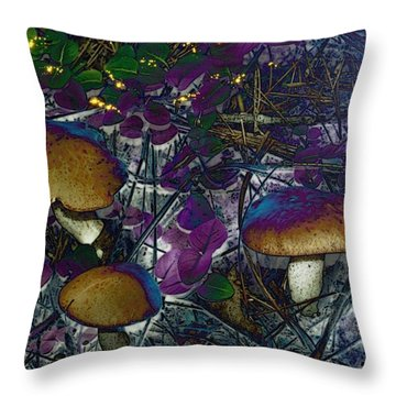 Magic Mushrooms Throw Pillow by Barbara S Nickerson
