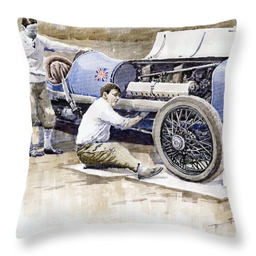 Malcolm Campbell Sunbeam Bluebird 1924 Throw Pillow by Yuriy  Shevchuk