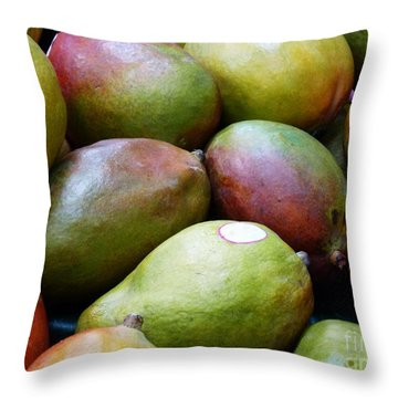 Mangoes Throw Pillow by Methune Hively