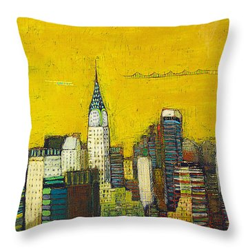 Manhattan With Chrysler And Empie Throw Pillow by Habib Ayat