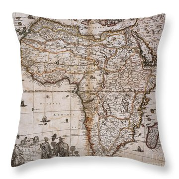 Map Of Africa, 1688 Throw Pillow by Photo Researchers