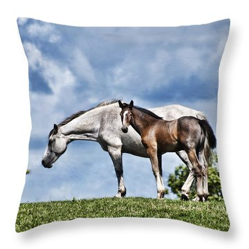 Mare And Foal Throw Pillow by Steve Purnell