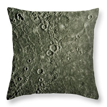 Mariner 10 Mosaic Of Mercury Showing Throw Pillow by NASA / Science Source