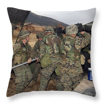 Marines Load A 98-pound High Explosive Throw Pillow by Stocktrek Images