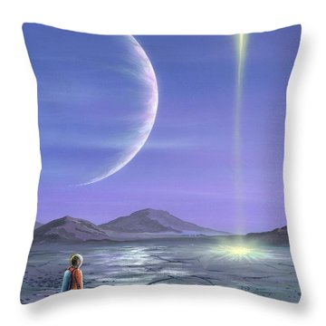 Marooned Astronaut Throw Pillow by Richard Bizley and Photo Researchers