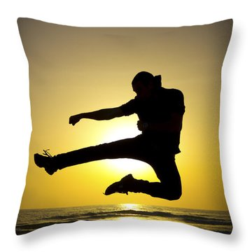 Martial Arts Silhouette Throw Pillow by Guy Viner