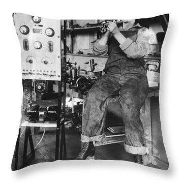 Mary Loomis, Radio School Operator Throw Pillow by Science Source