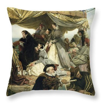 Mary Stuart's Farewell To France Throw Pillow by Henry Nelson O Neil