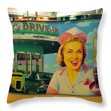 Mels Drive In Throw Pillow by David Lee Thompson