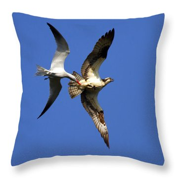 Mid-air Attack Throw Pillow by Mike  Dawson