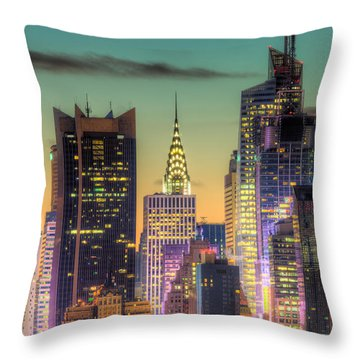Midtown Buildings Morning Twilight Throw Pillow by Clarence Holmes