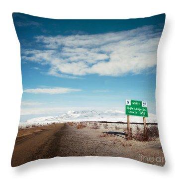 Milepost At The Dempster Highway Throw Pillow by Priska Wettstein