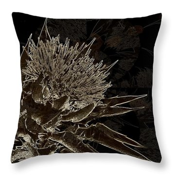 Milk Thistle In Sepia Throw Pillow by Shirley Sirois