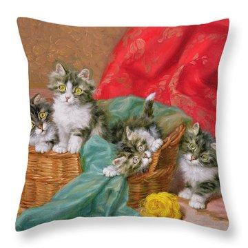 Mischievous Kittens Throw Pillow by Daniel Merlin