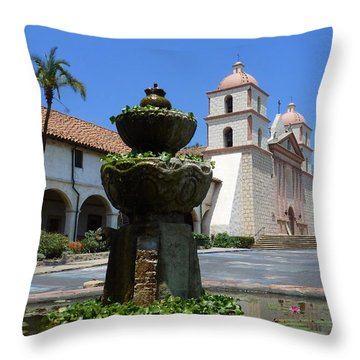 Mission Fountain Throw Pillow by Methune Hively