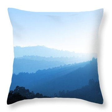 Misty Valley Throw Pillow by Carlos Caetano