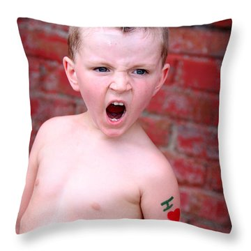 Mohawk Boy Throw Pillow by Kelly Hazel