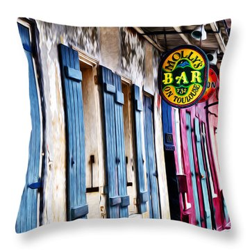 Molly's Bar On Toulouse Throw Pillow by Bill Cannon