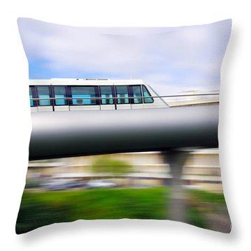 Monorail Carriage Throw Pillow by Carlos Caetano