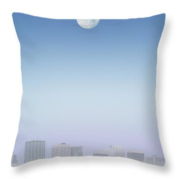 Moon Over Buildings Throw Pillow by Kelly Redinger
