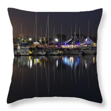 Moon Over The Marina Throw Pillow by Heidi Smith
