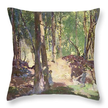 Morning In The Woods Throw Pillow by Harry Watson