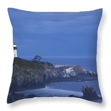 Morning Light Over Yaquina Head Throw Pillow by Craig Tuttle