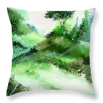 Morning Walk 1 Throw Pillow by Anil Nene