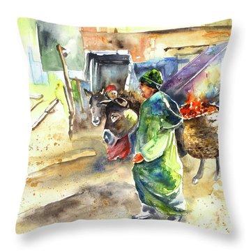 Morrocan Market 04 Throw Pillow by Miki De Goodaboom
