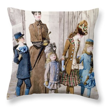 Mother And Children In Walking Dress  Throw Pillow by Jules David
