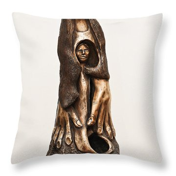 Mother Mourning Her Son Who Died In A War Large Hands Womb Inside Long Hair Sad Face Throw Pillow by Rachel Hershkovitz