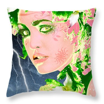 Mother Nature Throw Pillow by Methune Hively