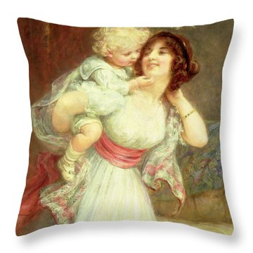 Mothers Darling Throw Pillow by Frederick Morgan