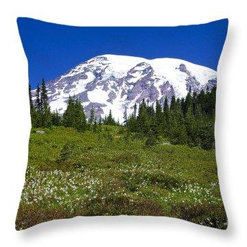 Mount Rainier In Summer Throw Pillow by Sean Griffin