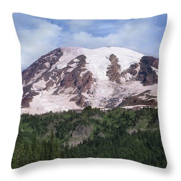 Mount Rainier With Coniferous Forest Throw Pillow by Tim Fitzharris
