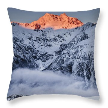 Mount Rolleston In The Dawn Light Throw Pillow by Colin Monteath