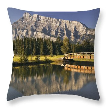 Mount Rundle And Cascade Ponds, Banff Throw Pillow by Darwin Wiggett