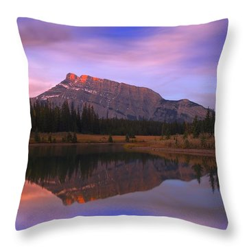 Mount Rundle And The Cascade Ponds In Throw Pillow by Carson Ganci