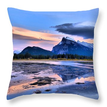 Mount Rundle In The Evening Throw Pillow by Tara Turner