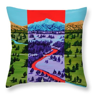 Mountain View Farm Throw Pillow by Randall Weidner