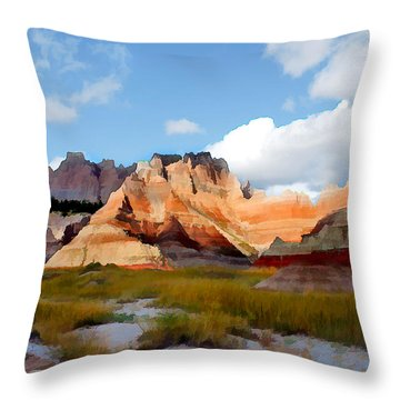 Mountains And Sky In Badlands National Park Throw Pillow by Elaine Plesser