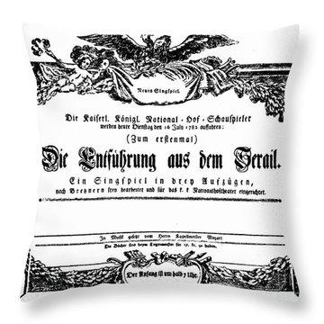 Mozart: Seraglio, 1782 Throw Pillow by Granger