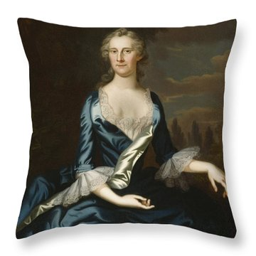 Mrs. Charles Carroll Of Annapolis Throw Pillow by John Wollaston