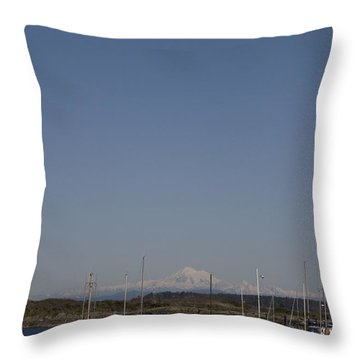 Mt Baker Looms Over A Harbor Full Throw Pillow by Taylor S. Kennedy