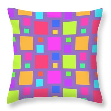 Multicoloured Squares Throw Pillow by Louisa Knight