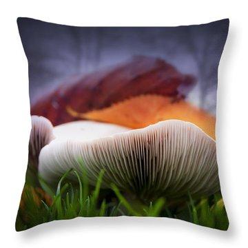 Mushrooms Close Up Throw Pillow by Svetlana Sewell