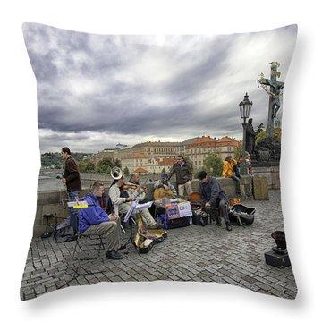 Musicians On The Charles Bridge - Prague Throw Pillow by Madeline Ellis