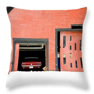 Mustang Car Barn Throw Pillow by Edward Fielding