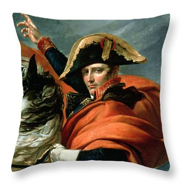 Napoleon Crossing The Alps On 20th May 1800 Throw Pillow by Jacques Louis David