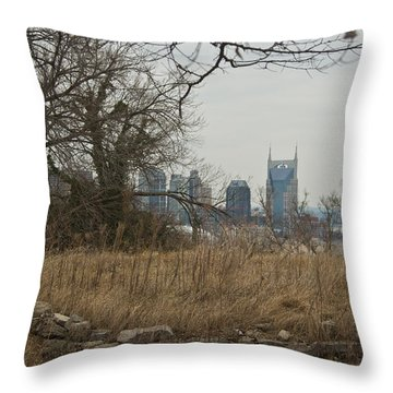 Nashville Skyline From The Fort Throw Pillow by Douglas Barnett